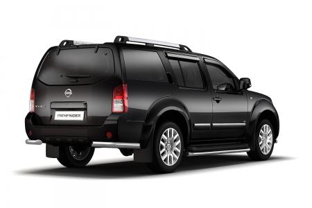 Защита заднего бампера угловая d63мм Nissan Pathfinder (нерж)